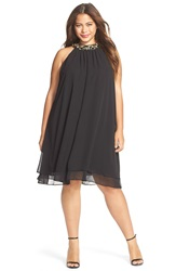 Eliza J Embellished Neck Chiffon Trapeze Dress Plus Size Black
