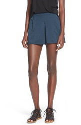Lily White Pleat Front Knit Shorts Midnight Teal