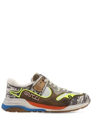 Gucci Ultrapace Mesh And Leather Sneakers Green