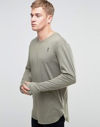 Religion Long Sleeve Longline Top With Thumb Hole Detail Wasabi Green