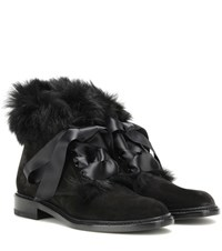 Saint Laurent Army 20 Rabbit Fur Trimmed Suede Ankle Boots Black