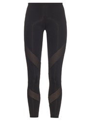 Adidas By Stella Mccartney Mesh Panel Cropped Performance Leggings Black