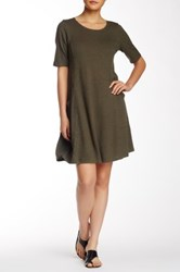 Eileen Fisher Scoop Neck Elbow Length Sleeve Dress Petite Green
