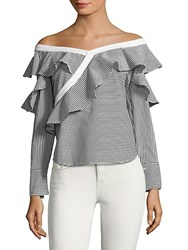 Laundry By Shelli Segal Ruffled Off The Shoulder Striped Top Black