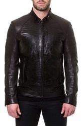 Maceoo Tron Print Leather Jacket Black