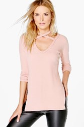 Boohoo Soft Rib Oversized Strappy Neck Top Pale Pink
