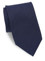 Charvet Silk And Linen Blend Twill Tie Navy