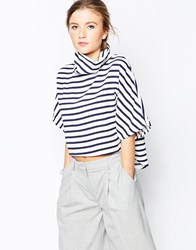 Wal G Shell Top With High Neck In Stripe Navy