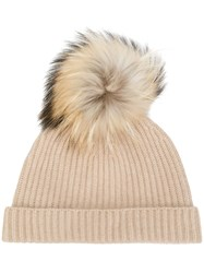 N.Peal Pompom Beanie Hat Neutrals