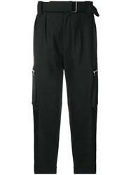 Christian Pellizzari Belted Cropped Cargo Trousers Black