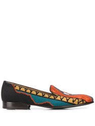 Etro Embroidered Loafers Orange