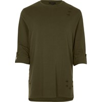River Island Mens Khaki Nibbled Longline Roll Sleeve T Shirt