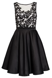 Quiz Black Satin Flower Short Dress Black
