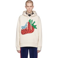 Gucci Off White Oversized Strawberry Hoodie