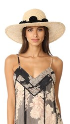 Kate Spade New York Sunhat With Pom Poms Black