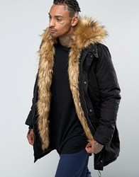 Sixth June Parka With Faux Fur Hood And Lining Black