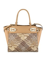 Nine West Gleam Team Satchel Camel Grey