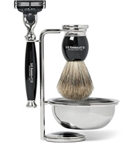 D R Harris Four Piece Ebony Shaving Set Black
