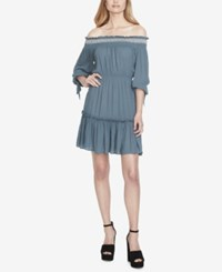 Jessica Simpson Juniors' Tiered Off The Shoulder Dress Blue