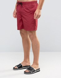 Asos Swim Shorts In Dark Red Mid Length Red