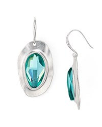 Robert Lee Morris Soho Faceted Drop Earrings Teal Silver