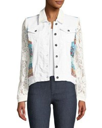 Berek Temptation Lace Sleeve Denim Jacket White