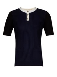 Courreges Contrast Neckline Ribbed Knit Top Navy White