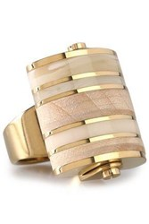 Lanvin Gold Tone Wood And Acrylic Ring Gold