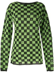 Marc Jacobs Green Green And Black Check Grunge Sweater 60