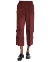 Edun Wide Leg Cropped Skater Pants Burgundy Red