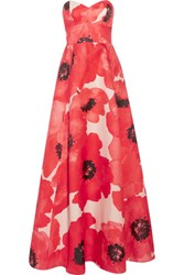 Lela Rose Strapless Printed Silk Gown Red