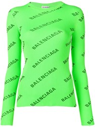 Balenciaga Allover Logo Sweater Green