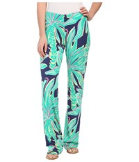 Lilly Pulitzer Georgia May Palazzo Bright Navy Tiger Palm Women's Casual Pants Green
