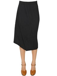 Jil Sander Asymmetrical Plisse Cotton Blend Skirt