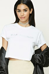 Forever 21 R.I.P. Feelings Graphic Tee White Silver