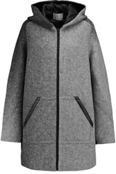 Alexander Wang T By Leather Trimmed Striped Wool Blend Felt Hooded Jacket Gray