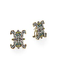 Heidi Daus Tea House Delight Swarovski Crystal And Multicolor Rhinestone Button Earrings Gold Multi