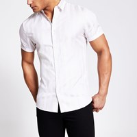 River Island Stone Stripe Egyptian Cotton Slim Fit Shirt
