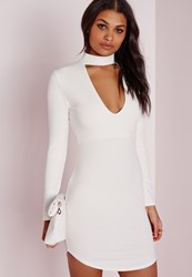 Missguided Petite Crepe Choker Curve Hem Cut Out Bodycon Dress White