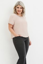 Forever 21 Plus Size Sequin Chiffon Top Dusty Pink