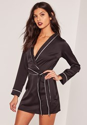 Missguided Silky Plunge Pocket Detail Shirt Dress Black