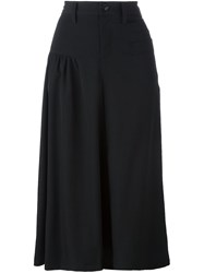 Y's High Waisted Draped Skirt Black