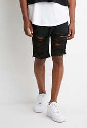 Forever 21 Destroyed Denim Shorts Black