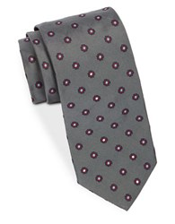 Brooks Brothers Silk Neat Floral Embroidered Tie Grey