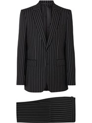Burberry English Fit Pinstriped Wool Suit Black