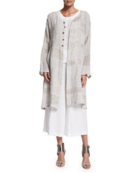 Eskandar Round Neck Long Coat With Pleated Panels Hessian