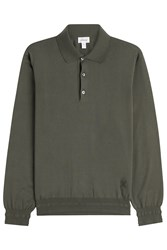Brioni Cotton Pullover With Buttons Green