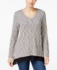 Styleandco. Style Co. Jacquard Chiffon Hem Top Only At Macy's Deep Black