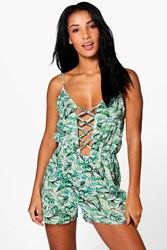 Boohoo Tropical Leaf Lace Up Beach Playsuit Green