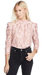 Wayf Erika Puff Sleeve Lace Top Blush